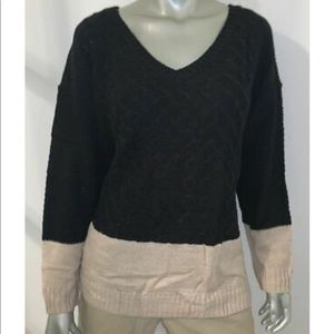 NY COLLECTION Cable Knit V-Neck Sweater